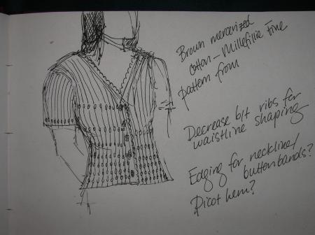 sketch for brown cotton sweater