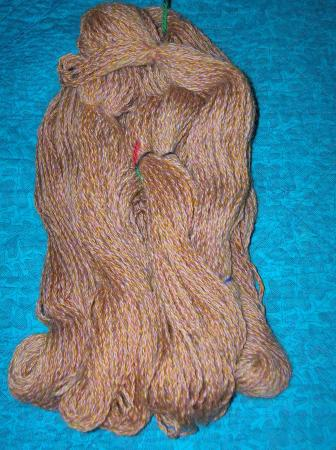 butterscotch and pink cabled yarn