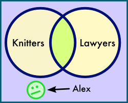 There are knitters, there are lawyers, there are lawyers who are knitters, and then, somewhere else, is Alex.