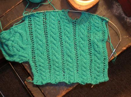cable and lace swatch