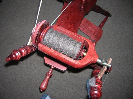 wool and silk on bobbin
